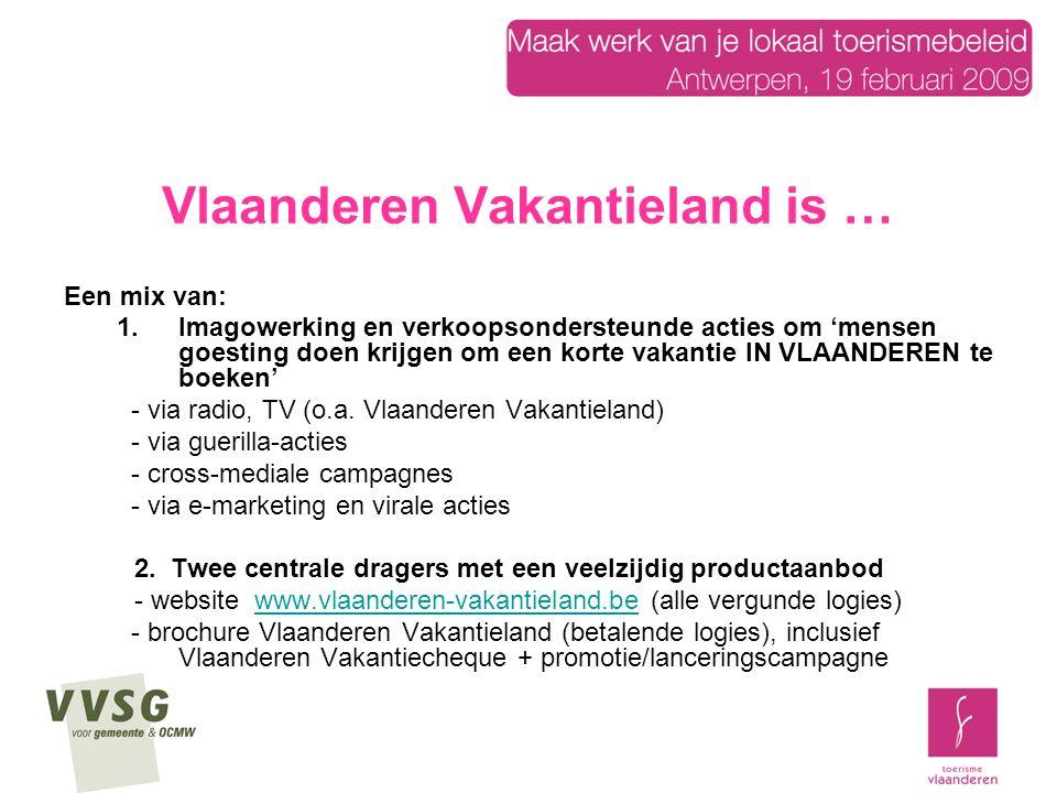 Vlaanderen Vakantieland is … Een mix van: 1.Imagowerking en verkoopsondersteunde acties om 'mensen goesting doen krijgen om een korte vakantie IN VLAANDEREN te boeken' - via radio, TV (o.a.