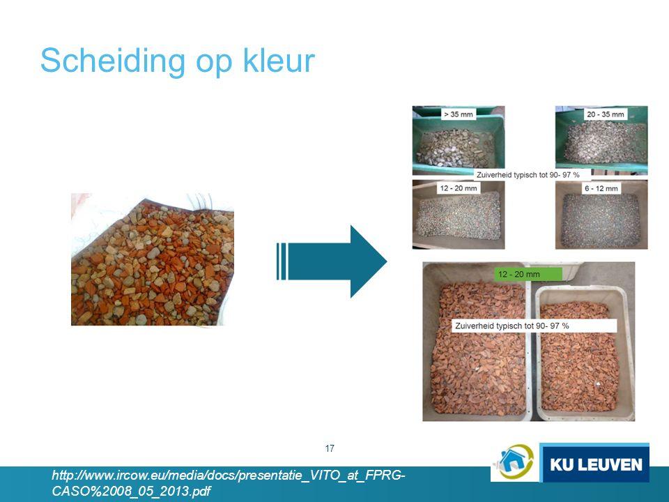 Scheiding op kleur 17 http://www.ircow.eu/media/docs/presentatie_VITO_at_FPRG- CASO%2008_05_2013.pdf