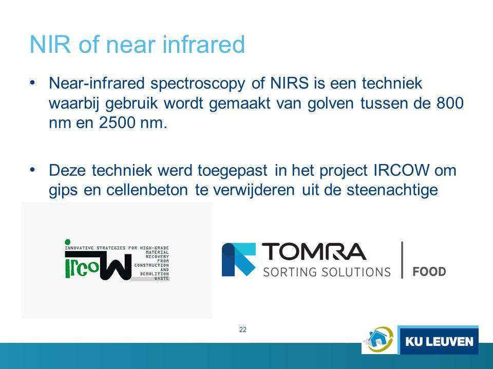 NIR of near infrared 22 Near-infrared spectroscopy of NIRS is een techniek waarbij gebruik wordt gemaakt van golven tussen de 800 nm en 2500 nm.