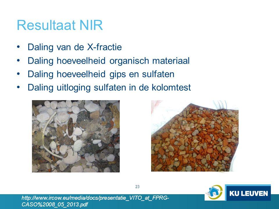 Resultaat NIR 23 Daling van de X-fractie Daling hoeveelheid organisch materiaal Daling hoeveelheid gips en sulfaten Daling uitloging sulfaten in de kolomtest http://www.ircow.eu/media/docs/presentatie_VITO_at_FPRG- CASO%2008_05_2013.pdf
