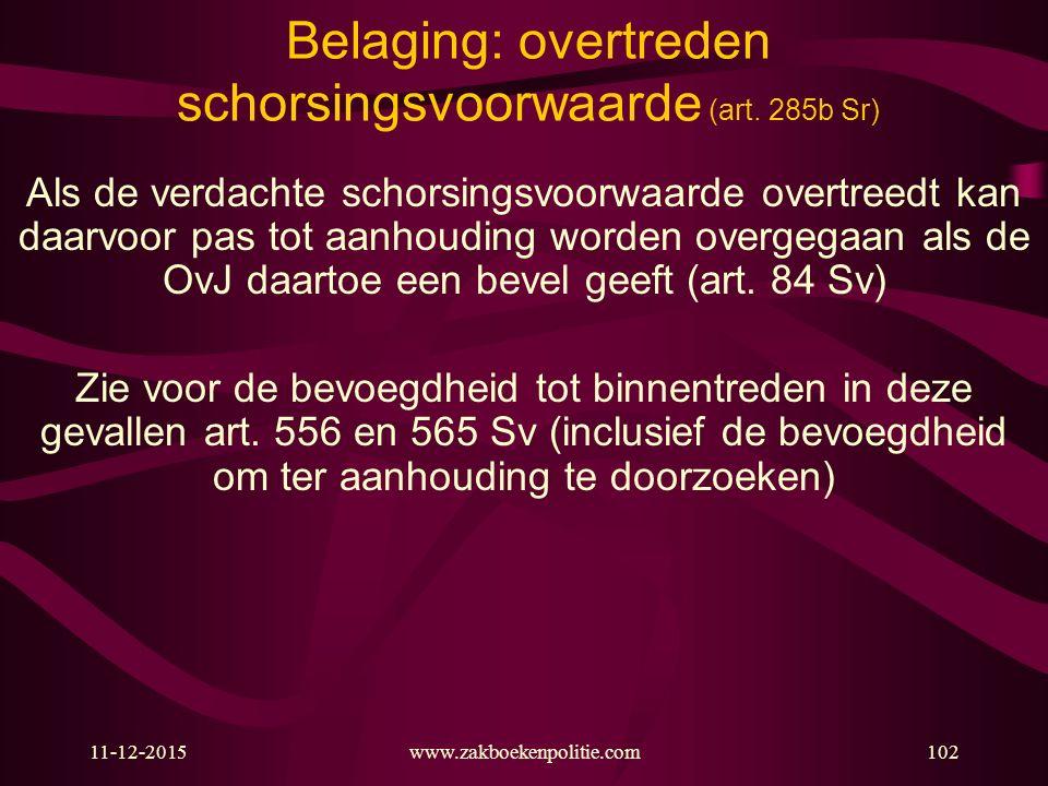 11-12-2015www.zakboekenpolitie.com102 Belaging: overtreden schorsingsvoorwaarde (art. 285b Sr) Als de verdachte schorsingsvoorwaarde overtreedt kan da