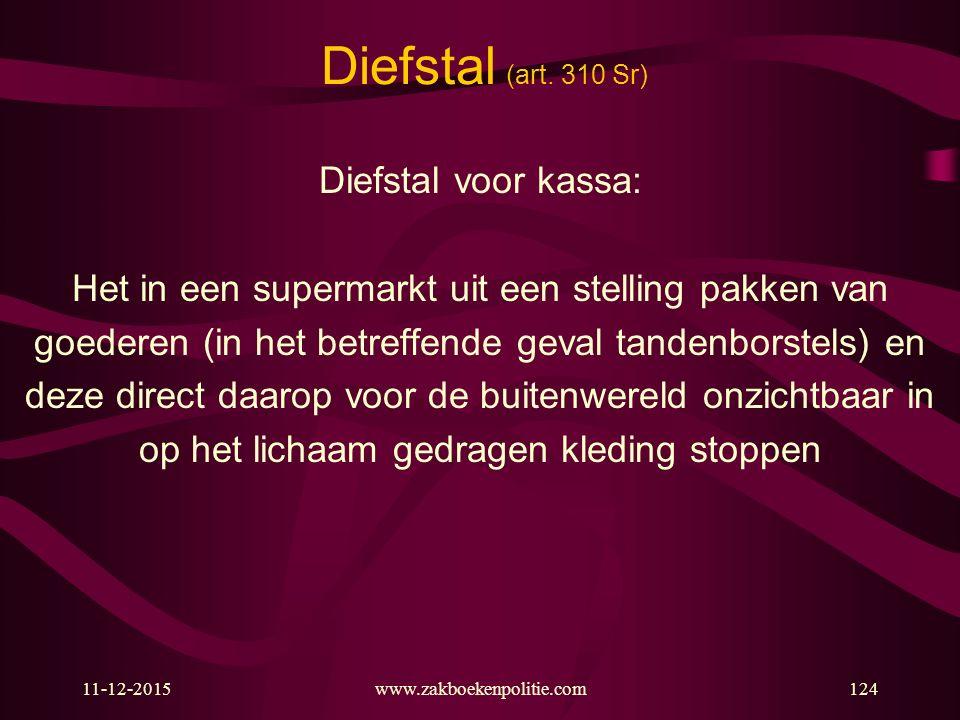 11-12-2015www.zakboekenpolitie.com124 Diefstal (art. 310 Sr) Diefstal voor kassa: Het in een supermarkt uit een stelling pakken van goederen (in het b