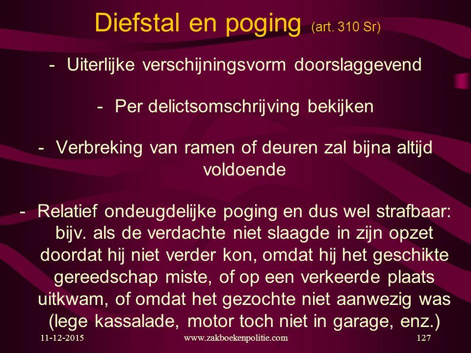 11-12-2015127 Diefstal en poging (art. 310 Sr) -Uiterlijke verschijningsvorm doorslaggevend -Per delictsomschrijving bekijken -Verbreking van ramen of