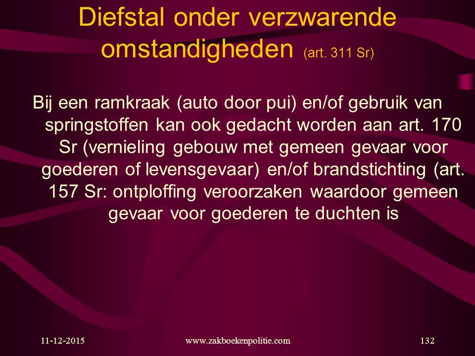11-12-2015www.zakboekenpolitie.com132 Diefstal onder verzwarende omstandigheden (art. 311 Sr) Bij een ramkraak (auto door pui) en/of gebruik van sprin