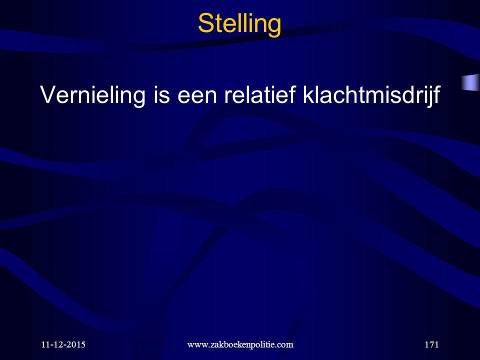 11-12-2015www.zakboekenpolitie.com171 Stelling Vernieling is een relatief klachtmisdrijf