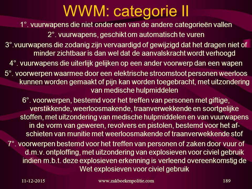 11-12-2015189 WWM: categorie II 1°. vuurwapens die niet onder een van de andere categorieën vallen 2°. vuurwapens, geschikt om automatisch te vuren 3°