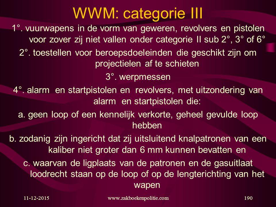 11-12-2015www.zakboekenpolitie.com190 WWM: categorie III 1°. vuurwapens in de vorm van geweren, revolvers en pistolen voor zover zij niet vallen onder