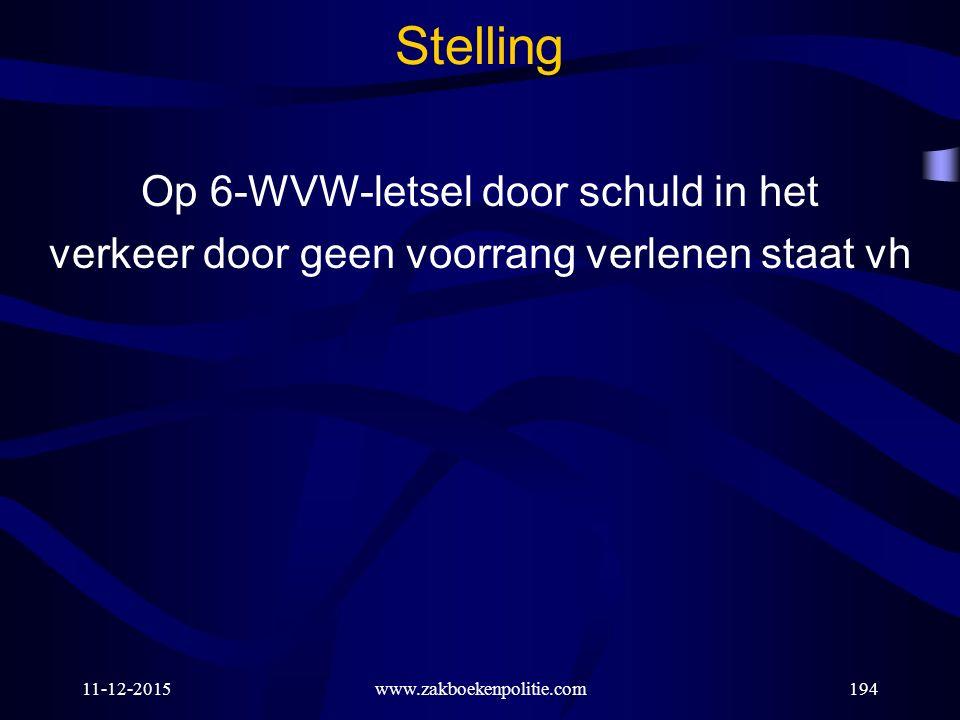 11-12-2015www.zakboekenpolitie.com194 Stelling Op 6-WVW-letsel door schuld in het verkeer door geen voorrang verlenen staat vh
