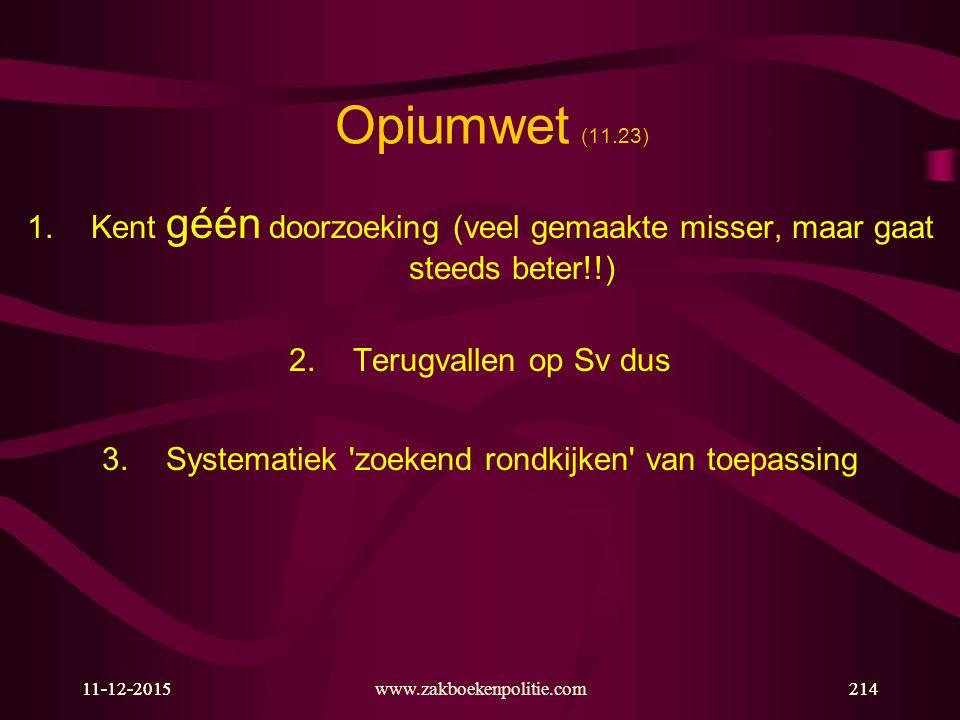 11-12-2015www.zakboekenpolitie.com21411-12-2015214 Opiumwet (11.23) 1.Kent géén doorzoeking (veel gemaakte misser, maar gaat steeds beter!!) 2.Terugva