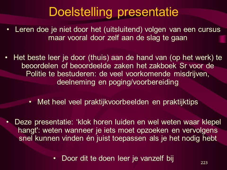 223 Doelstelling presentatie Leren doe je niet door het (uitsluitend) volgen van een cursus maar vooral door zelf aan de slag te gaan Het beste leer j