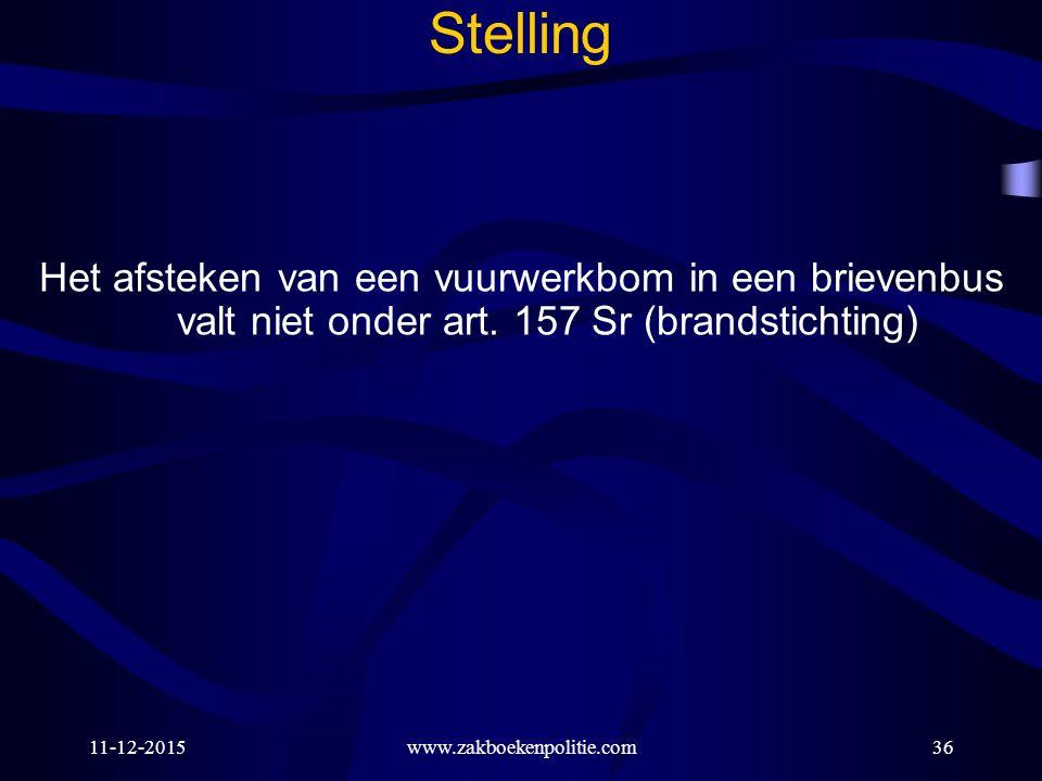 11-12-201536 Stelling Het afsteken van een vuurwerkbom in een brievenbus valt niet onder art. 157 Sr (brandstichting) www.zakboekenpolitie.com