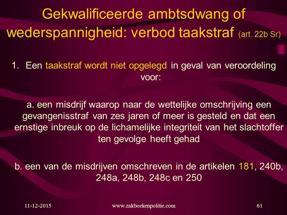 11-12-2015www.zakboekenpolitie.com61 Gekwalificeerde ambtsdwang of wederspannigheid: verbod taakstraf (art. 22b Sr) 1.Een taakstraf wordt niet opgeleg