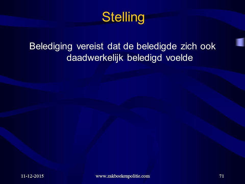 11-12-2015www.zakboekenpolitie.com71 Stelling Belediging vereist dat de beledigde zich ook daadwerkelijk beledigd voelde