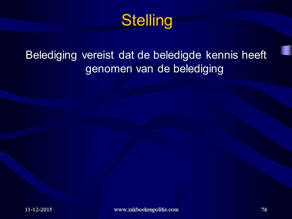 11-12-2015www.zakboekenpolitie.com76 Stelling Belediging vereist dat de beledigde kennis heeft genomen van de belediging
