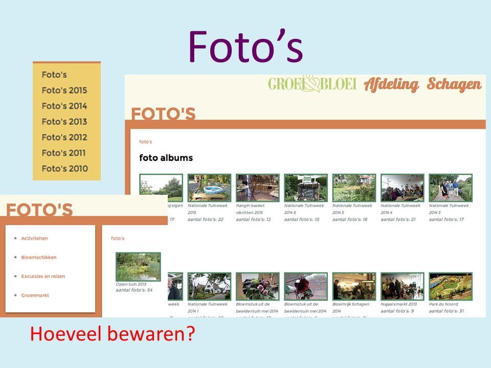 Foto's Hoeveel bewaren?