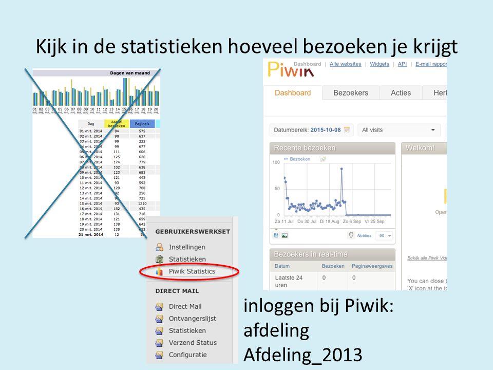 Kijk in de statistieken hoeveel bezoeken je krijgt inloggen bij Piwik: afdeling Afdeling_2013