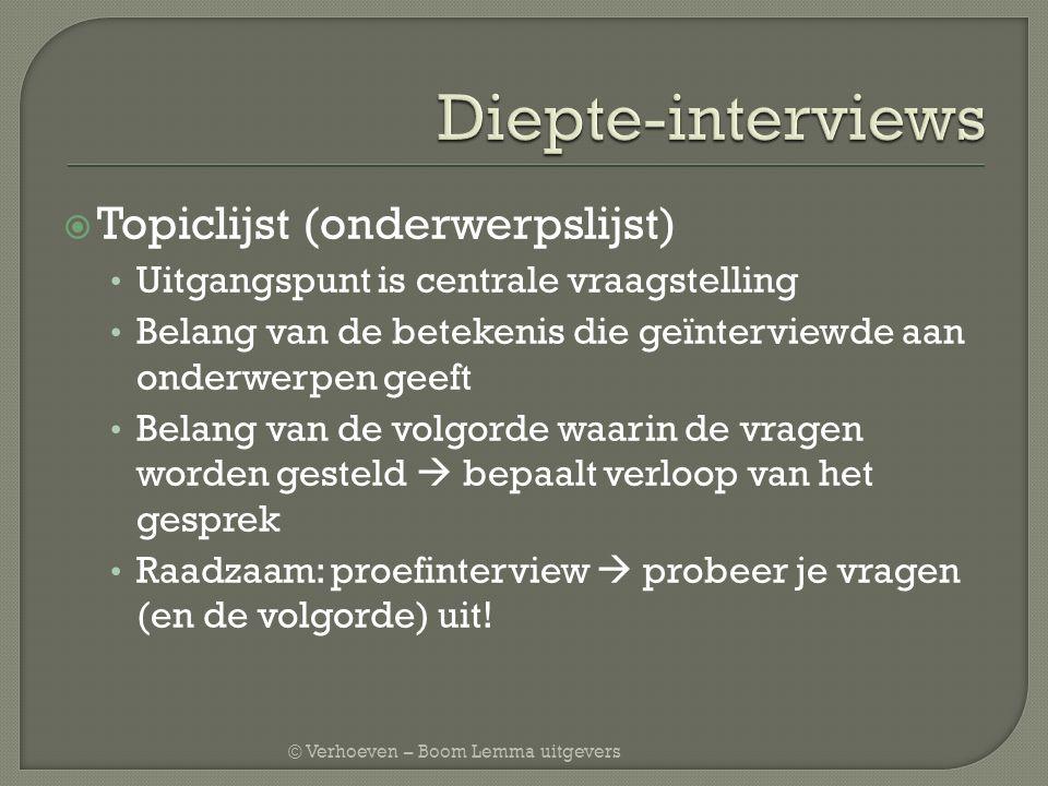© Verhoeven – Boom Lemma uitgevers  Topiclijst (onderwerpslijst) Uitgangspunt is centrale vraagstelling Belang van de betekenis die geïnterviewde aan