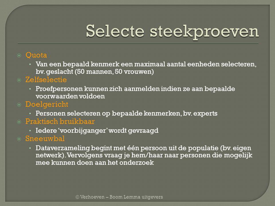 © Verhoeven – Boom Lemma uitgevers  Quota Van een bepaald kenmerk een maximaal aantal eenheden selecteren, bv. geslacht (50 mannen, 50 vrouwen)  Zel