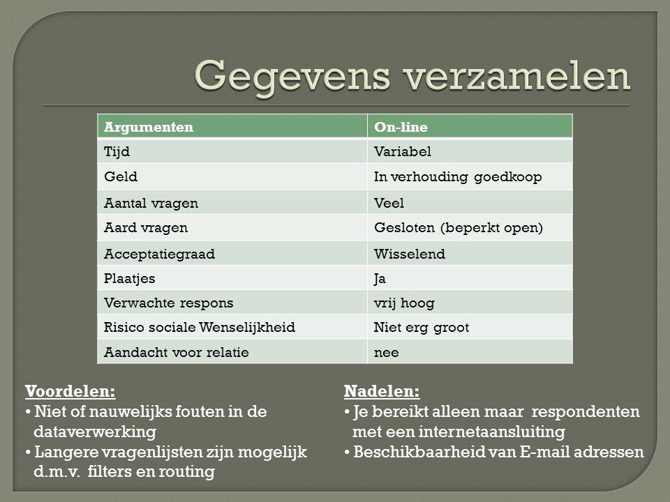ArgumentenOn-line TijdVariabel GeldIn verhouding goedkoop Aantal vragenVeel Aard vragenGesloten (beperkt open) AcceptatiegraadWisselend PlaatjesJa Ver