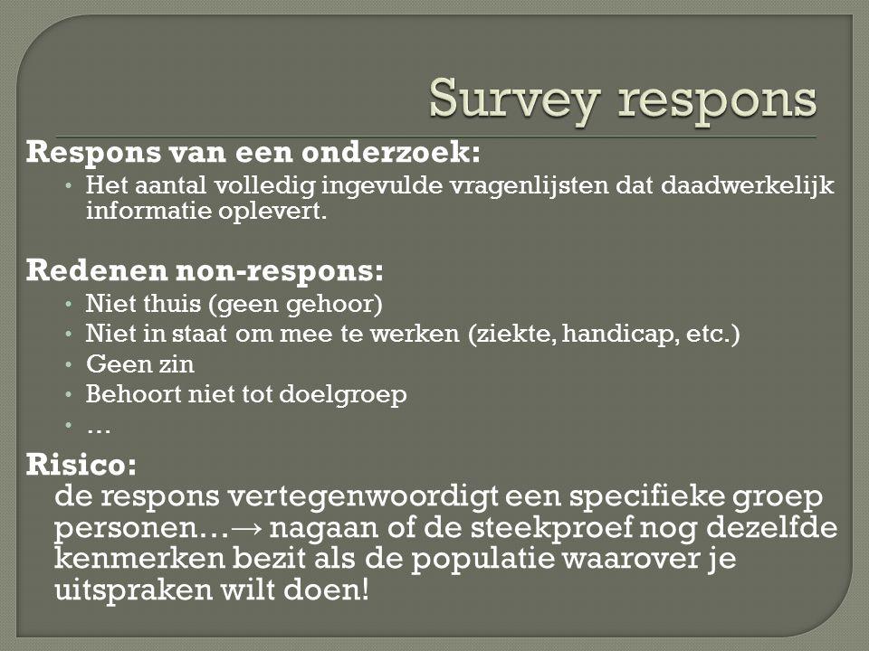 Respons van een onderzoek: Het aantal volledig ingevulde vragenlijsten dat daadwerkelijk informatie oplevert. Redenen non-respons: Niet thuis (geen ge