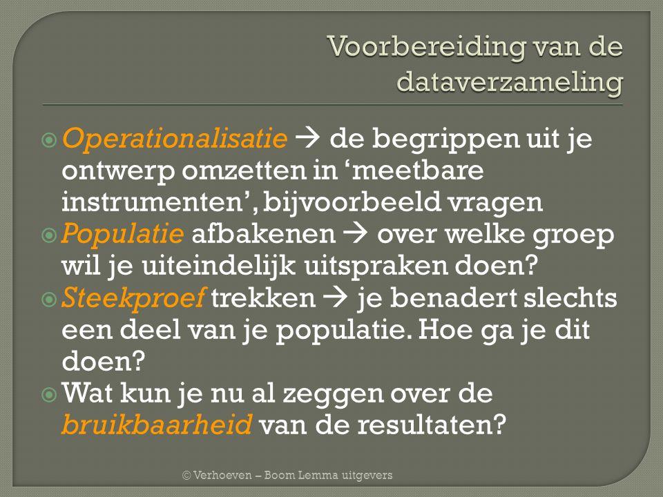 © Verhoeven – Boom Lemma uitgevers  Representativiteit: op aantal kenmerken is je steekproef gelijk aan de populatie bv.