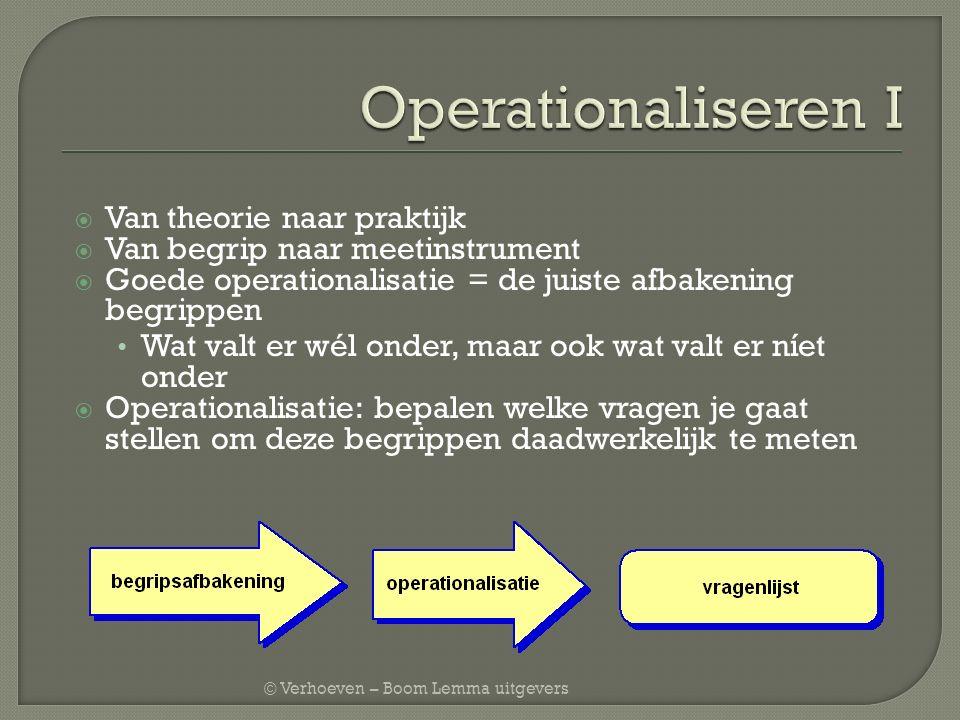 © Verhoeven – Boom Lemma uitgevers  Van theorie naar praktijk  Van begrip naar meetinstrument  Goede operationalisatie = de juiste afbakening begri