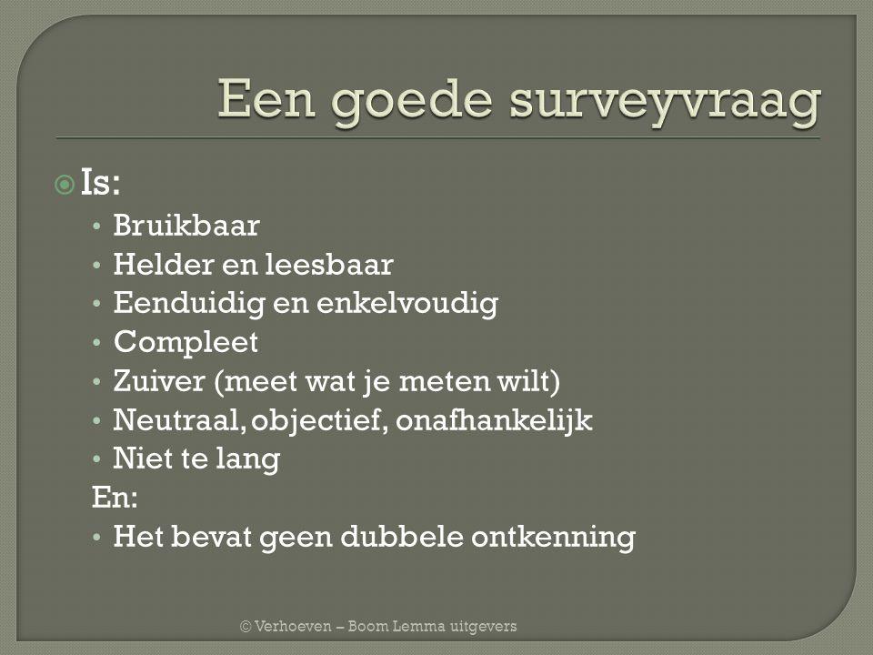 © Verhoeven – Boom Lemma uitgevers  Is: Bruikbaar Helder en leesbaar Eenduidig en enkelvoudig Compleet Zuiver (meet wat je meten wilt) Neutraal, obje