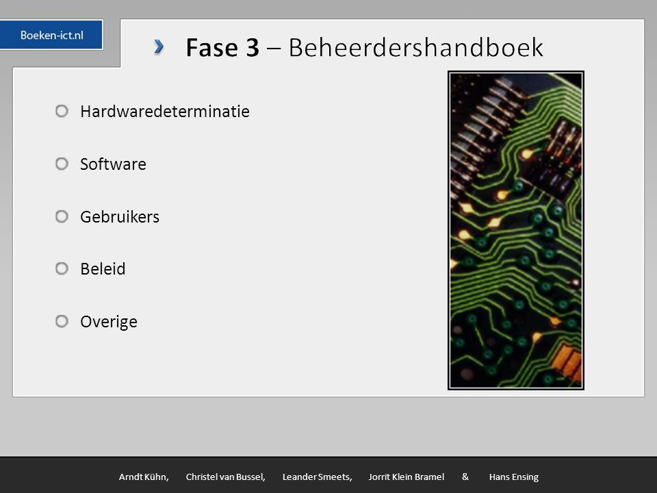 Hardwaredeterminatie Software Gebruikers Beleid Overige Arndt Kühn, Christel van Bussel, Leander Smeets, Jorrit Klein Bramel & Hans Ensing