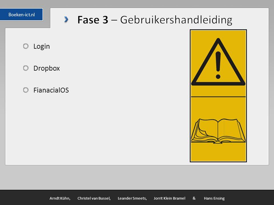 Login Dropbox FianacialOS Arndt Kühn, Christel van Bussel, Leander Smeets, Jorrit Klein Bramel & Hans Ensing
