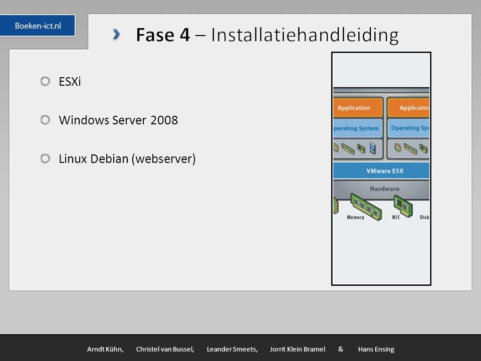 ESXi Windows Server 2008 Linux Debian (webserver) Arndt Kühn, Christel van Bussel, Leander Smeets, Jorrit Klein Bramel & Hans Ensing