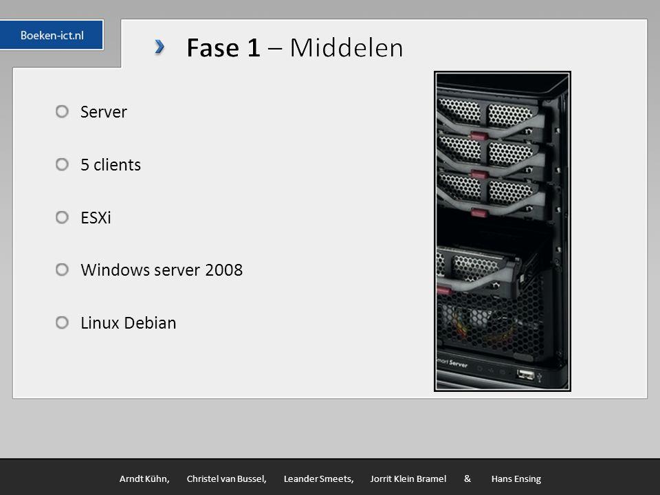Server 5 clients ESXi Windows server 2008 Linux Debian Arndt Kühn, Christel van Bussel, Leander Smeets, Jorrit Klein Bramel & Hans Ensing
