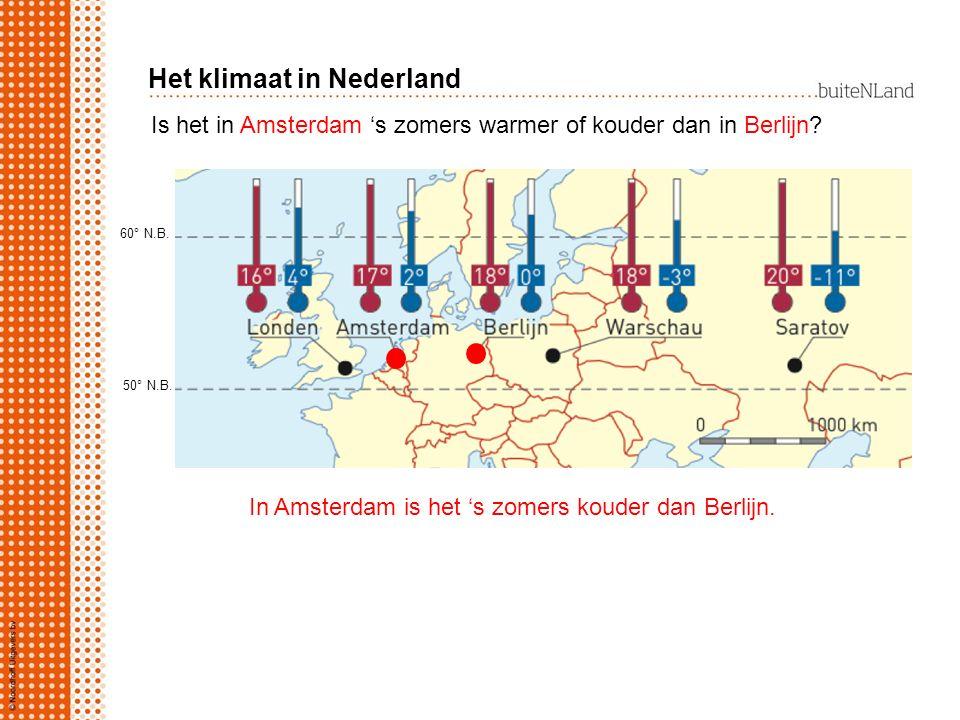 Leg met een hoe-hoe-zin uit waarom het in Amsterdam 's winters warmer is dan in Berlijn.