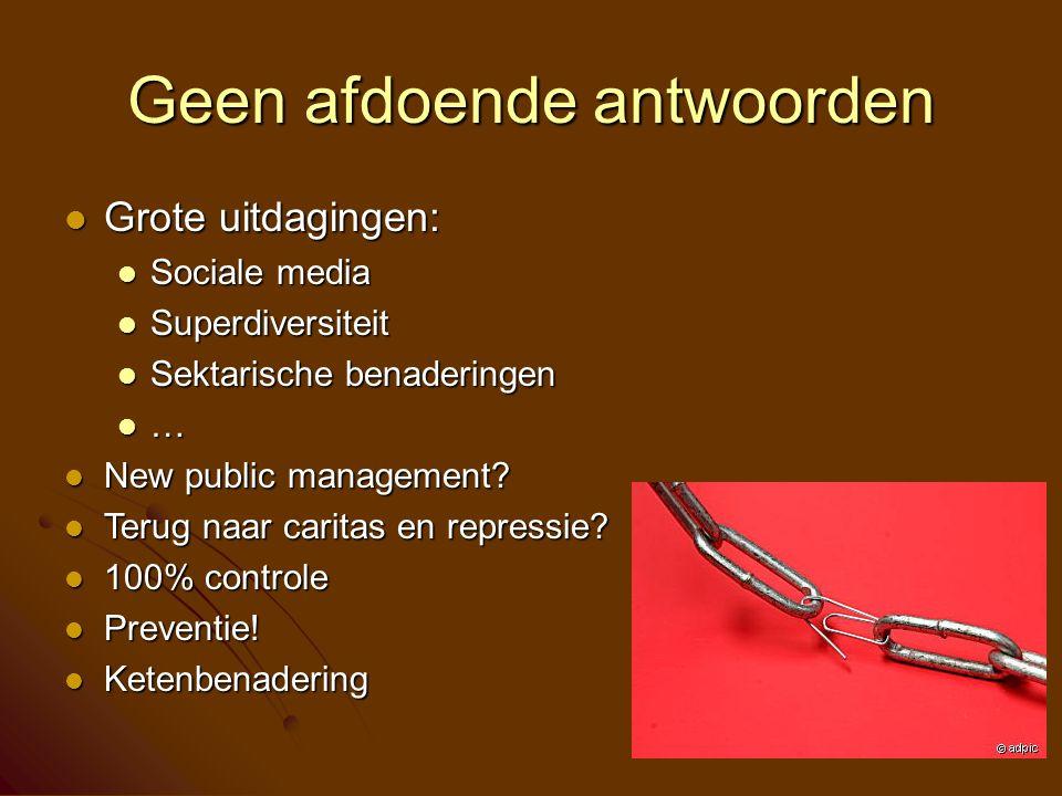 Geen afdoende antwoorden Grote uitdagingen: Grote uitdagingen: Sociale media Sociale media Superdiversiteit Superdiversiteit Sektarische benaderingen Sektarische benaderingen … New public management.