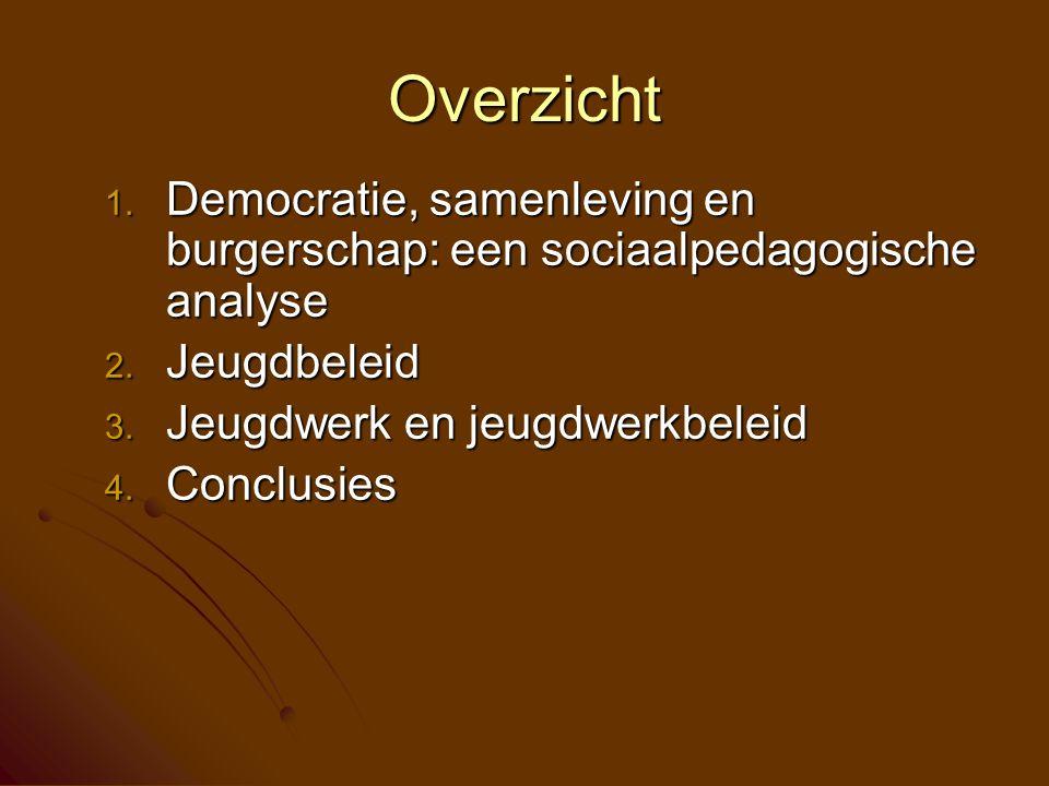 Democratie Jeugdwerk was en is een instrument ter promotie van een bepaald samenlevingsmodel  N-Irl, Duitsland, B, …  Scouting Twee centrale vragen - Sociaal: Hoe systematiseren we ons samen-leven.