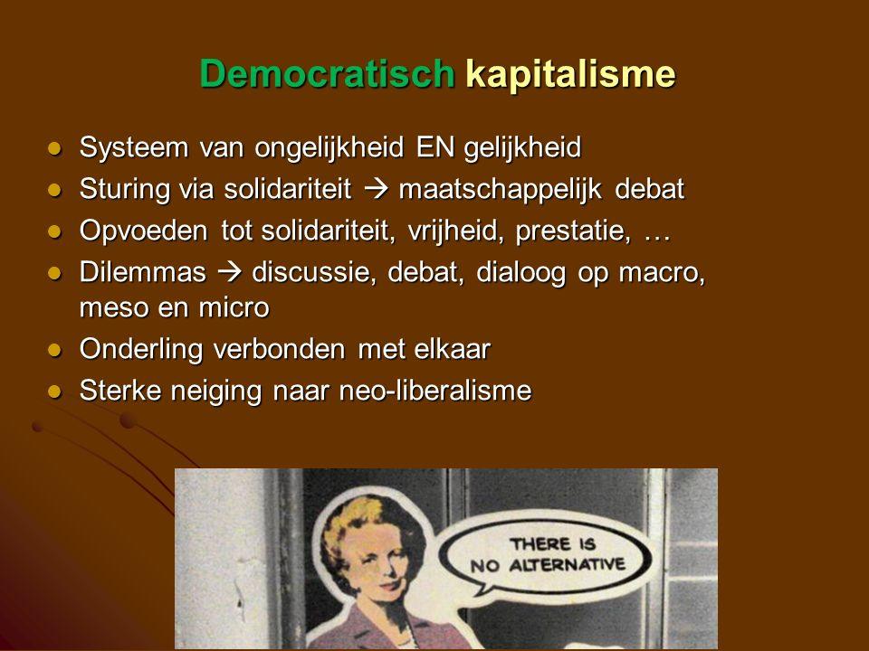 Democratisch kapitalisme Systeem van ongelijkheid EN gelijkheid Systeem van ongelijkheid EN gelijkheid Sturing via solidariteit  maatschappelijk debat Sturing via solidariteit  maatschappelijk debat Opvoeden tot solidariteit, vrijheid, prestatie, … Opvoeden tot solidariteit, vrijheid, prestatie, … Dilemmas  discussie, debat, dialoog op macro, meso en micro Dilemmas  discussie, debat, dialoog op macro, meso en micro Onderling verbonden met elkaar Onderling verbonden met elkaar Sterke neiging naar neo-liberalisme Sterke neiging naar neo-liberalisme