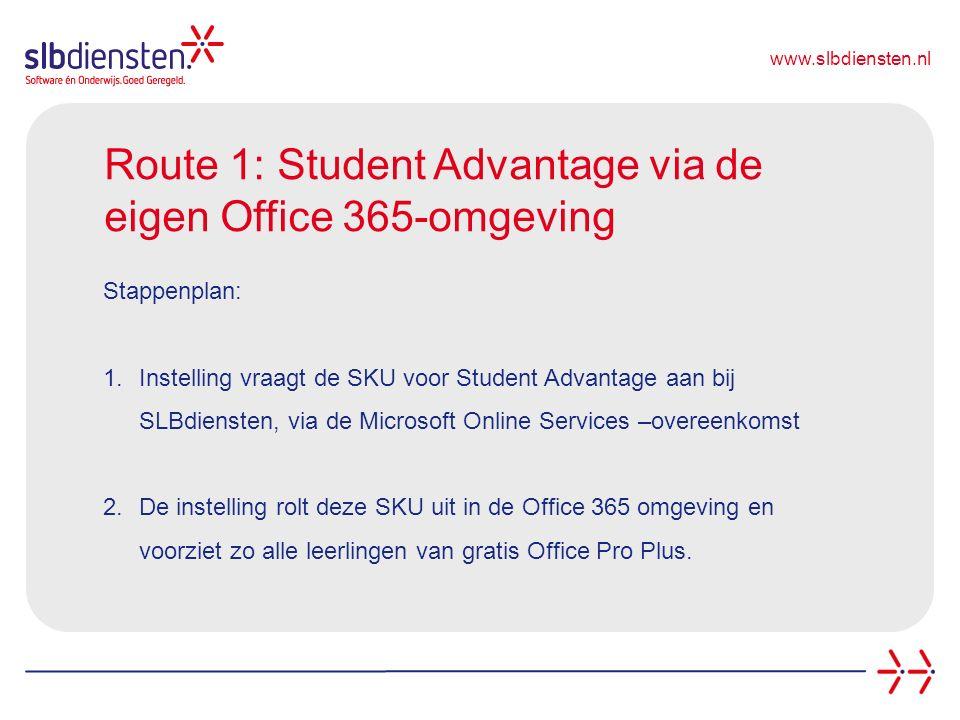 www.slbdiensten.nl Route 1: Student Advantage via de eigen Office 365-omgeving Stappenplan: 1.Instelling vraagt de SKU voor Student Advantage aan bij SLBdiensten, via de Microsoft Online Services –overeenkomst 2.De instelling rolt deze SKU uit in de Office 365 omgeving en voorziet zo alle leerlingen van gratis Office Pro Plus.