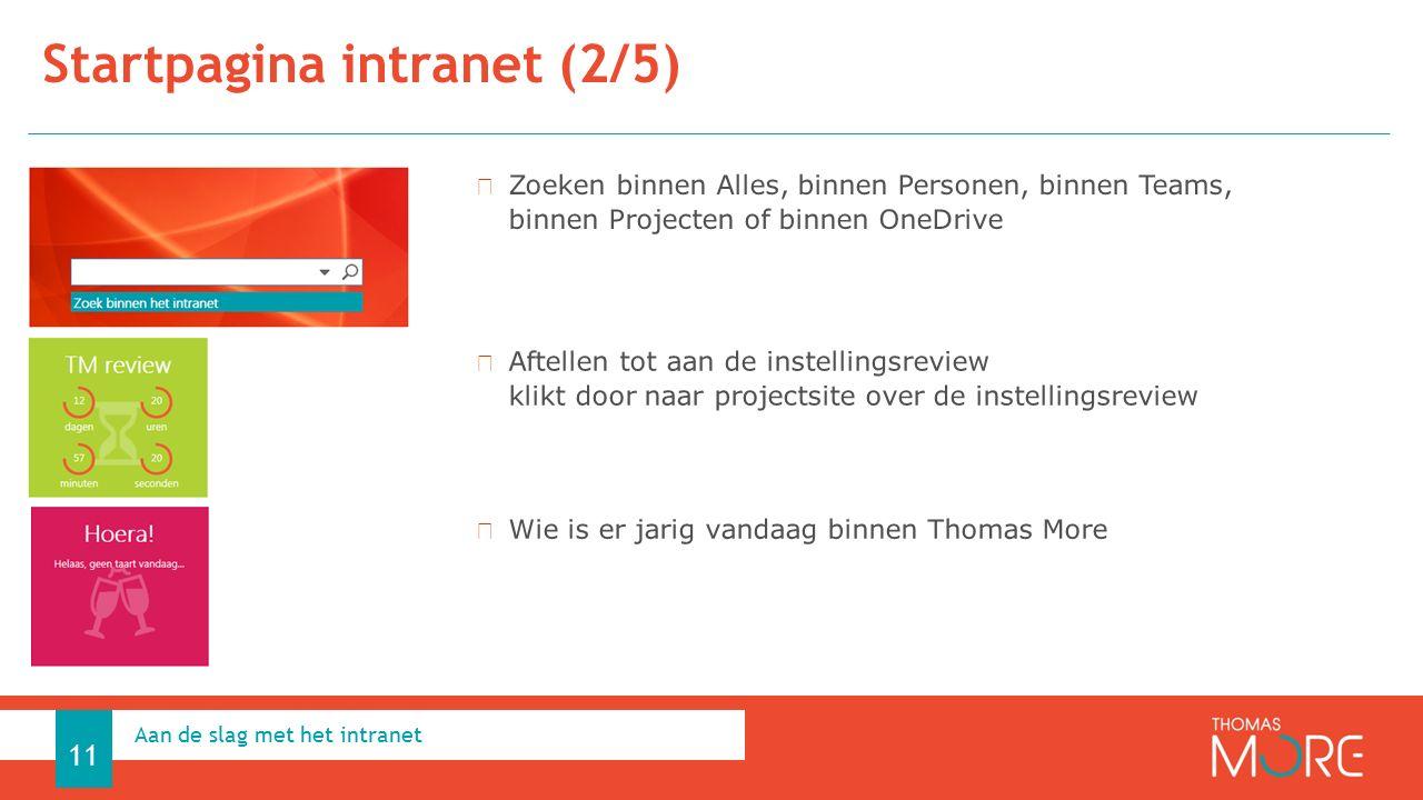 Startpagina intranet (2/5) Aan de slag met het intranet 11