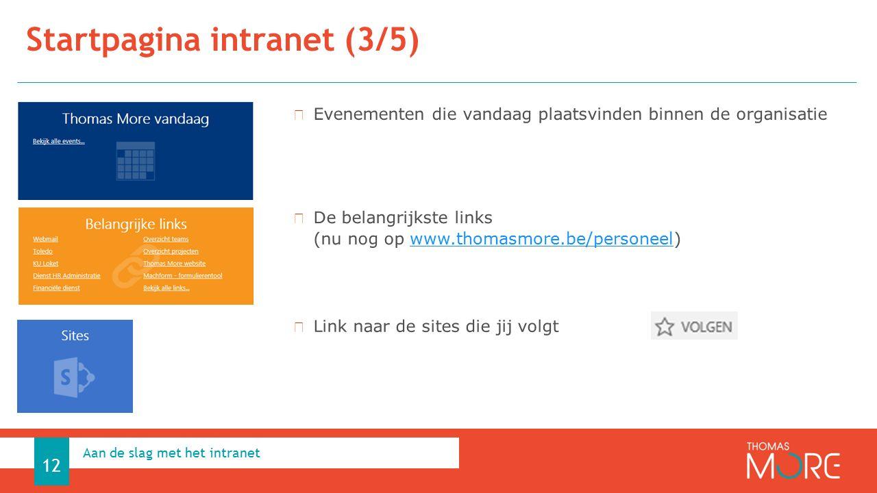 Startpagina intranet (3/5) Aan de slag met het intranet 12