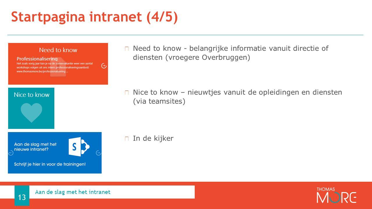 Startpagina intranet (4/5) Aan de slag met het intranet 13