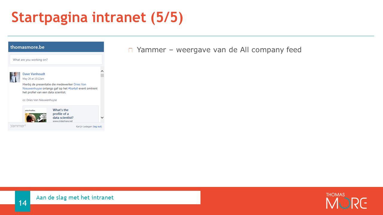 Startpagina intranet (5/5) Aan de slag met het intranet 14