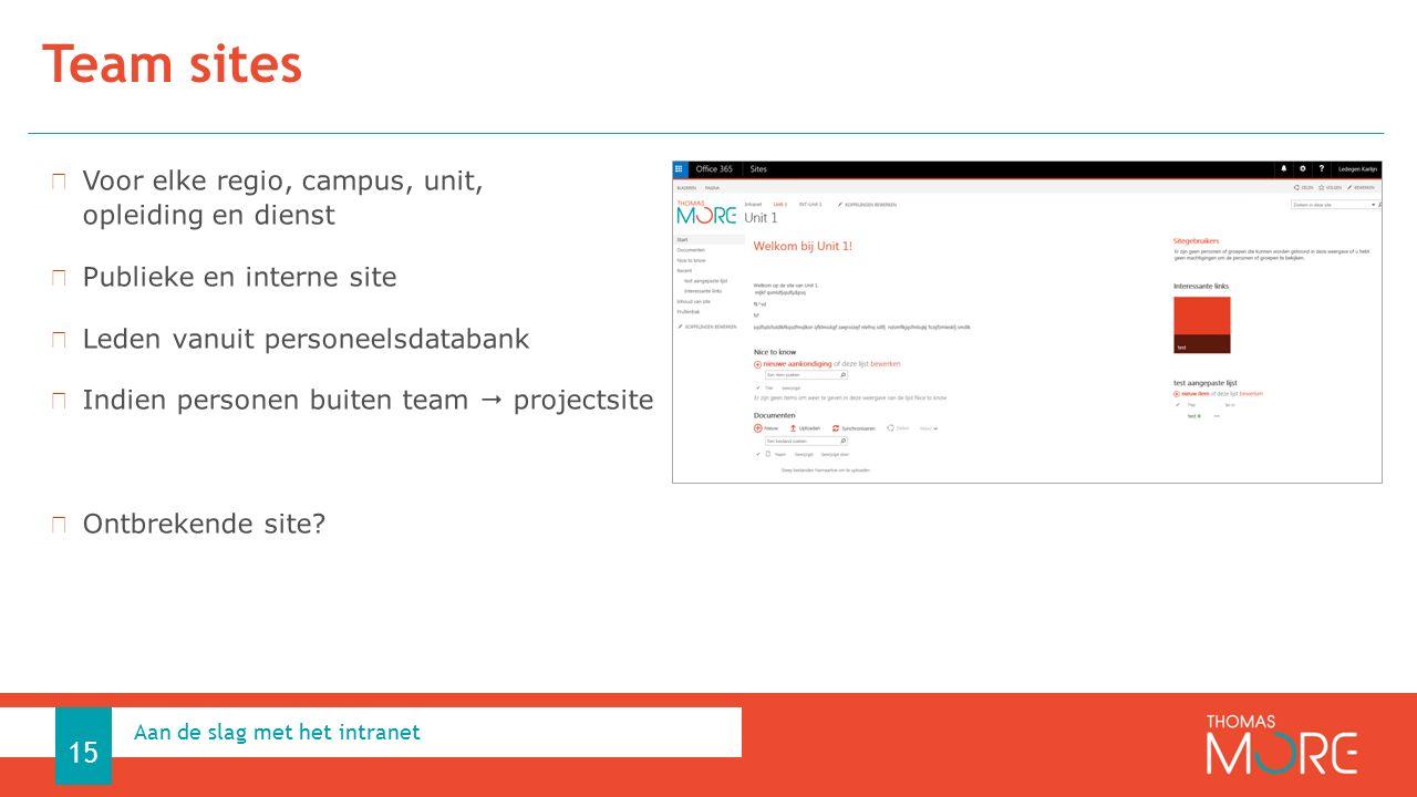 Team sites Aan de slag met het intranet 15