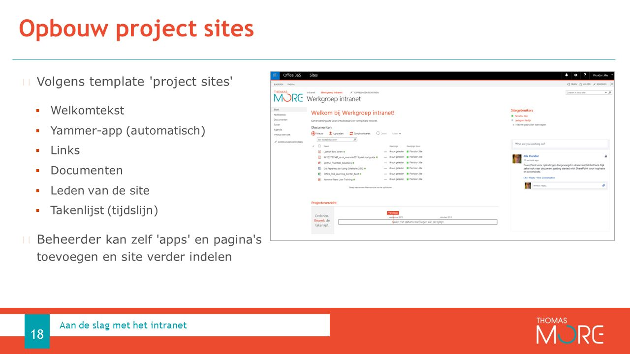 Opbouw project sites Aan de slag met het intranet 18