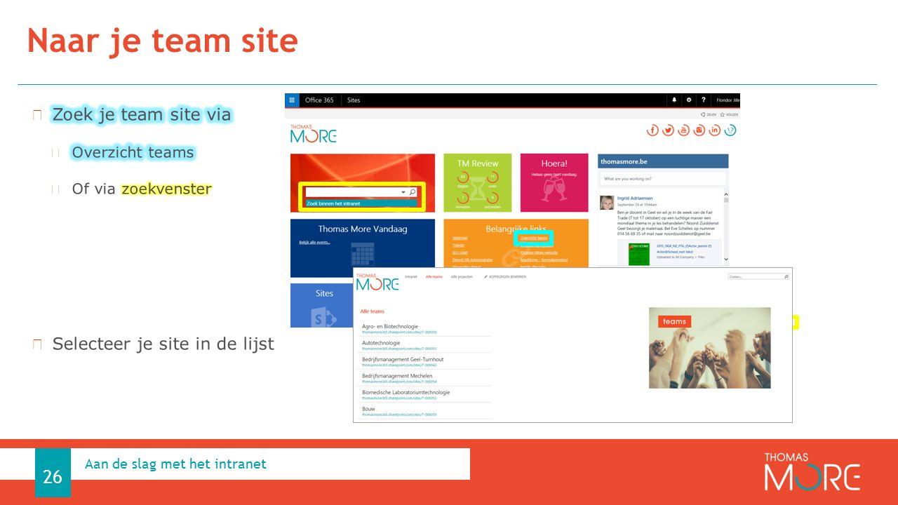 Naar je team site Aan de slag met het intranet 26
