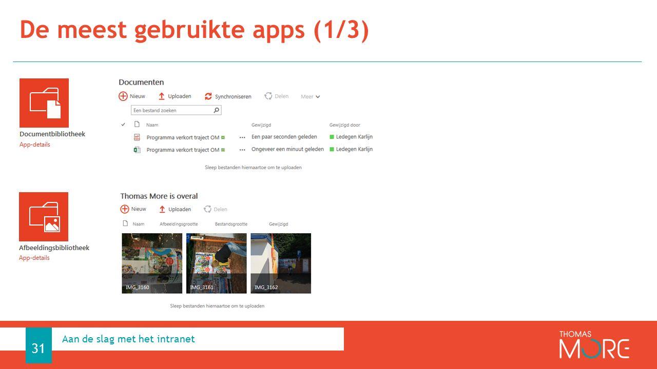 De meest gebruikte apps (1/3) Aan de slag met het intranet 31