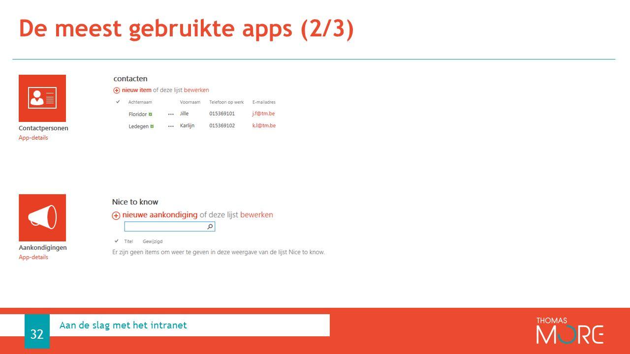 De meest gebruikte apps (2/3) Aan de slag met het intranet 32