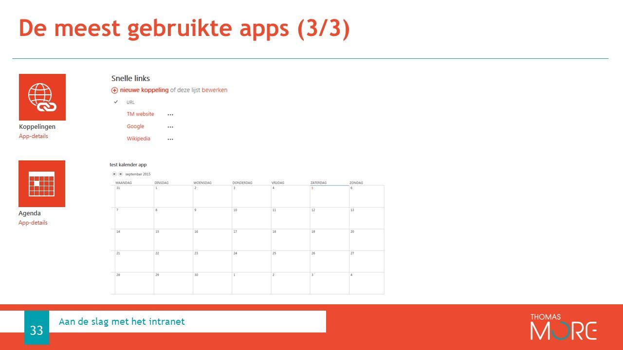 De meest gebruikte apps (3/3) Aan de slag met het intranet 33