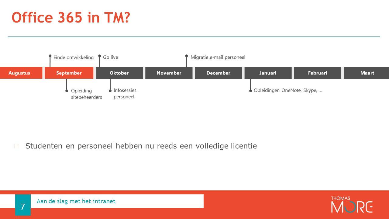 Office 365 in TM Aan de slag met het intranet 7