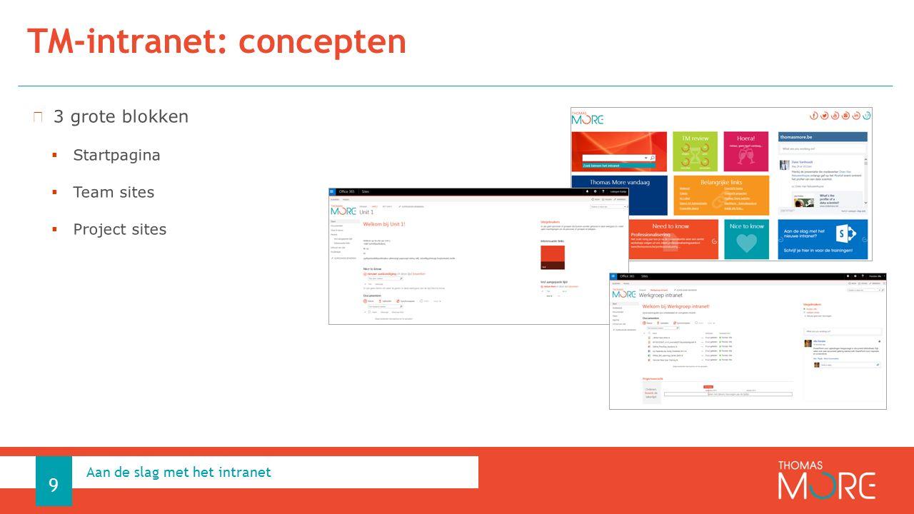 TM-intranet: concepten Aan de slag met het intranet 9