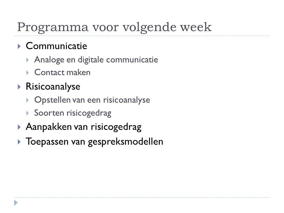 Programma voor volgende week  Communicatie  Analoge en digitale communicatie  Contact maken  Risicoanalyse  Opstellen van een risicoanalyse  Soo