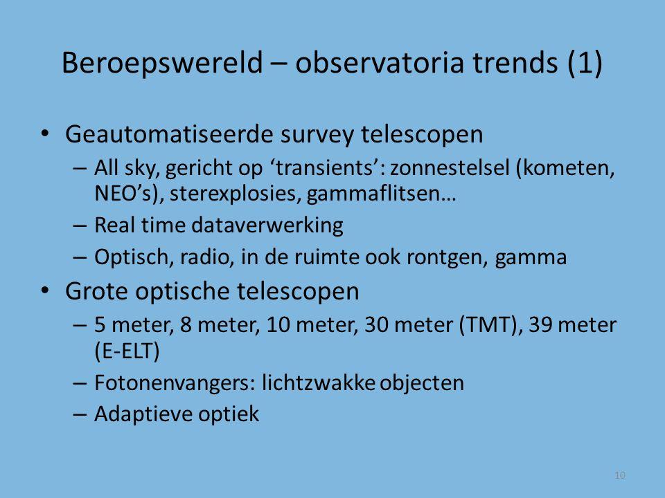 Beroepswereld – observatoria trends (1) Geautomatiseerde survey telescopen – All sky, gericht op 'transients': zonnestelsel (kometen, NEO's), sterexplosies, gammaflitsen… – Real time dataverwerking – Optisch, radio, in de ruimte ook rontgen, gamma Grote optische telescopen – 5 meter, 8 meter, 10 meter, 30 meter (TMT), 39 meter (E-ELT) – Fotonenvangers: lichtzwakke objecten – Adaptieve optiek 10